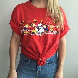 Christmas Charlie Brown Snoopy tee sz L